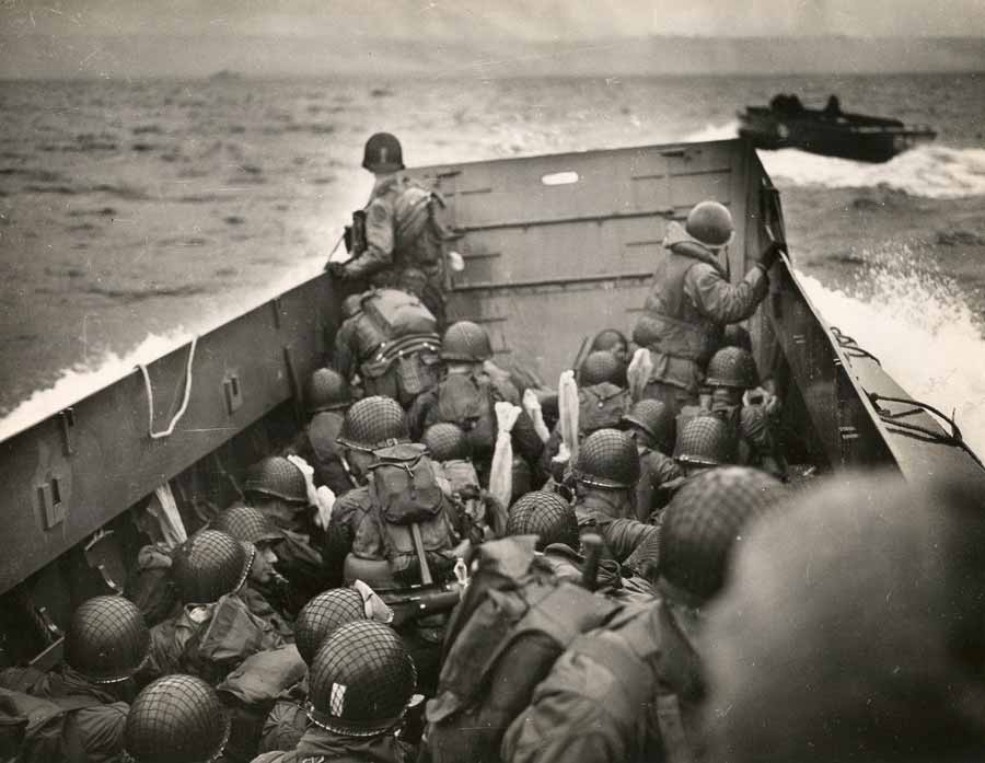 Members of the 101st Airborne Infantry Division and the 4th Infantry Division crowd aboard an LCT on the way to Utah Beach, June 6, 1944. Photo courtesy of the National WWII Museum.