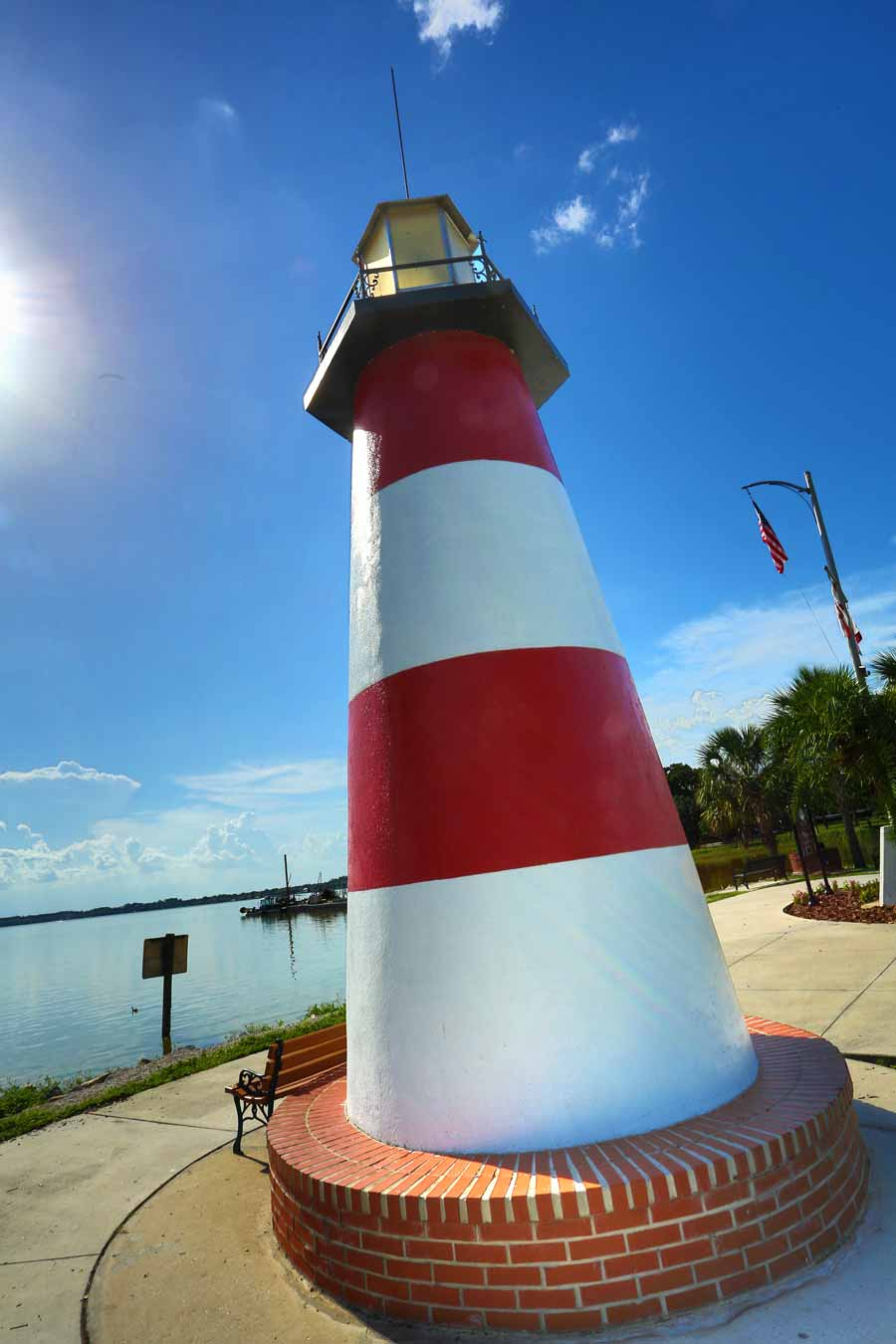 July 2014: Florida's only inland freshwater lighthouse, this picturesque 35-foot beacon at the end of Grantham Point announces Mount Dora's uniqueness.
