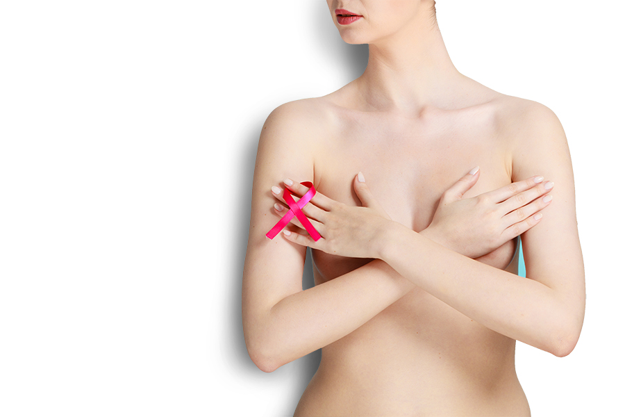 Naked-woman- with-breast-cancer- awareness-ribbon