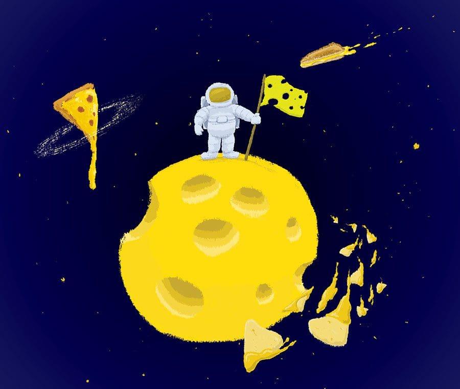 illustration-astronaut-on-cheese-moon