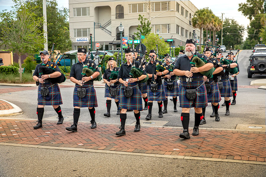 bagpipers-marching-down-street
