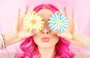 girl-pink-hair-flower-cookies